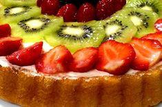 Fresh Fruit Flan Recipe | Allrecipes Flan Recipe Allrecipes, Fruit Flan Recipe, Fresh Fruit Desserts, Fresh Fruit Tart, Fruit Tarts, Flan Cake, Good Food, Yummy Food, Jelly Roll Pan