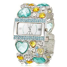 Kvinders rektangel Dial Heart Shape Hollow Gravering Band Quartz Analog Bracelet Watch (assorterede farver) – DKK kr. 231