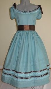 #010-001 little girls blue and brown day dress.