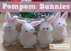 Bunny Pom pom Craft for Kids in Spring or Easter.these bunnies remind me of the ones I got in my Easter basket when I was little! Easter Activities, Easter Crafts For Kids, Diy For Kids, Easter Ideas, Spring Crafts, Holiday Crafts, Fun Crafts, Pom Pom Animals, Weekend Crafts