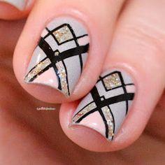 ieuv #imanatural geometric grey and black nail art