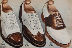 1952 mens brown white shoes two tone cap toe, wingtip and saddle shoes