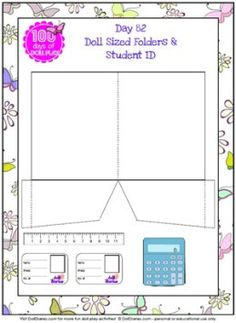 Doll play printable school supplies