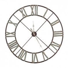 Very Large Wrought Iron Wall Clock - Aged