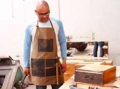 A leather and canvas apron for men. The ideal gift for the hard to buy for man they make excellent work aprons. #canvas #leather #vintage #giftideas