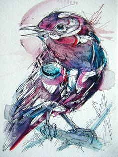 Ink, paint, and feathers