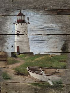 Pallet art lighthouse... I love when people create art on unexpected backgrounds and unexpected places, as if the art just couldn't be contained and found a way. Painting On Wood, Paint For Wood, Nautical Painting, Nautical Art, Pallet Painting, Pallet Art, Tole Painting, Pallet Crafts, Painting & Drawing