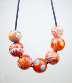 Red And Orange | Glass Bead Necklace | Murano Glass | Glasperlen Kette | Handcrafted Jewelry | Melanie Moertel