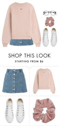 """the evening sun"" by winterlilac12 ❤ liked on Polyvore featuring Miss Selfridge, Off-White and Converse"