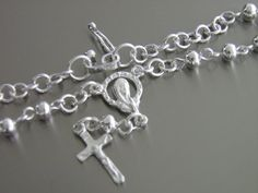 Sterling Silver Rosary Bracelet Unique Craftsmanship by Pithuahua