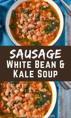 This sausage, white bean and kale soup is loaded with vegetables, including onions, carrots, celery and tomatoes. It gets a ton of flavor from the Italian sausage and the creamy cannellini beans make this soup a meal! Bean Soup Recipes, Chowder Recipes, Chili Recipes, White Bean Kale Soup, Best Chili Recipe, Hot And Sour Soup, Cooking For Beginners, Easy Family Dinners, Slow Cooker Chili