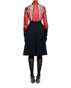Alexander McQueen Long-Sleeve Paisley Tie-Neck Blouse & Two-Pocket A-Line Cargo Skirt Waist Skirt, High Waisted Skirt, Paisley Tie, Tie Neck Blouse, Skater Skirt, Alexander Mcqueen, Long Sleeve, Skirts, Sleeves