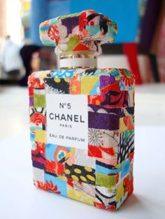 Patchwork decoupage Chanel bottle by the fabulously talented Squint Limited in Shoreditch, London.