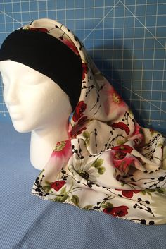 Hijab Scarf Hat Chemo Hat Hair Loss Cover up One Size fits Most Stretch Soft Black Knit Band with Pink/Red Flowers & Matching Scrunchy by EzAdultCareProducts on Etsy