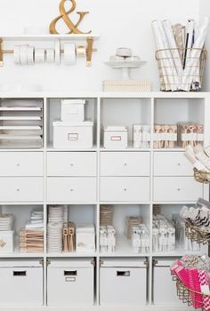 IKEA Hacks That'll Answer All Your Craft Storage Woes If you're short on room, optimizing your space with tall shelves is the way to go.If you're short on room, optimizing your space with tall shelves is the way to go. Home Office Space, Home Office Design, Home Office Decor, Office Spaces, Office Ideas, Work Spaces, Office Workspace, Feminine Office Decor, Apartment Office