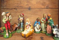 Vintage 1950's Nativity Creche Figurines set of 9 by corrnucopia,