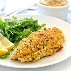 Healthy fillet of fish with an AMAZING parmesan garlic crust - on the table in just over 10 minutes and only 260 calories!!