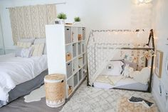 Montessori bedroom - Baby Makes Three A Shared Master Bedroom & Nursery with Global Style — My Room — Apartment Therapy Baby Bedroom, Girls Bedroom, Bedroom Ideas, Trendy Bedroom, Childs Bedroom, Room Divider Ideas Bedroom, Bedroom Rugs, Room Baby, Bedroom Modern