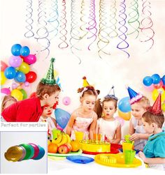 3Pcs6Pcs Laser Shimmer Party Hanging Spiral Swirls Wedding Party Home Decoration