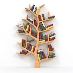 Bookshelf Design 2020 – How many books fit on a bookshelf - Home Ideas Tree Bookshelf, Cool Bookshelves, Bookshelf Plans, Bookshelf Design, Bookcase Decorating, Kids Bookcase, Bookcases, Decorating Ideas, Tree Shapes