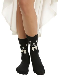 Black Cat Cream Bow Ankle Socks | Hot Topic