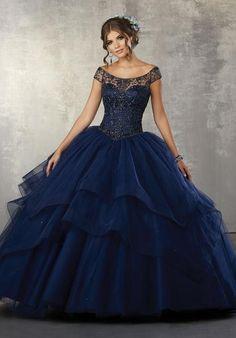 Resultado de imagen para ver vestidos de 15 años color azul