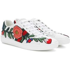 ba2dd515616 Gucci Embellished Leather Sneakers (15.699.365 VND) ❤ liked on Polyvore  featuring shoes