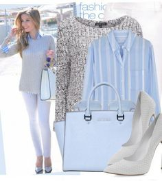 Baby blue is perfect for Spring.  Baby blue button down under a silver/grey sweater with white jeans and heels.  Love Spring outfits.