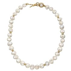 Coin-Shaped Pearl Necklace with Gold Clasp | From a unique collection of vintage more necklaces at https://www.1stdibs.com/jewelry/necklaces/more-necklaces/