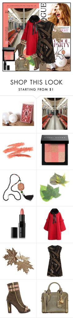 """Coral and Brown"" by din-sesantadue ❤ liked on Polyvore featuring Bobbi Brown Cosmetics, Kenneth Jay Lane, Sur La Table, Chicwish, Celestine, navabi, Luichiny and Alexander McQueen"