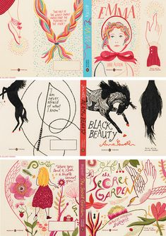Hand embroidered book covers by Jillian Tamaki.