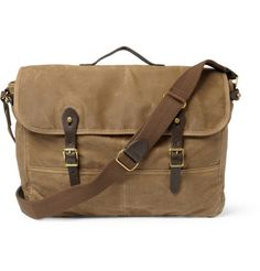 J. CREW ABINGDON WAXED COTTON-CANVAS AND LEATHER MESSENGER BAG