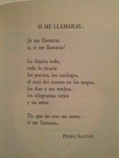 Escogí este poema vanguardista de Pedro Salinas , porque además de ser un importante autor del género , Pedro muestra su amor en esta obra hacia un amor desconocido que debía tener.