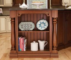 Covered Bridge Cabinetry- Two Toned French Style Kitchen Glass Front Cabinets, French Country Style, Kitchen Cabinetry, Covered Bridges, Storage Solutions, Bookcase, Shelves, Wood, Home Decor