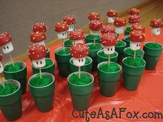 Some fun little mushroom's in green 'pipes' for dessert. Tutorial included
