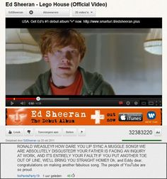 Looks like Ron Weasley's mom is pretty upset about his appearance in the music video for 'Lego House' by Ed Sheeran. @Nerima Gryba