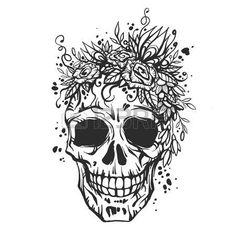Tatouage tete de mort tatouage de cr ne dessin la main - Tete de mort avec fleur ...
