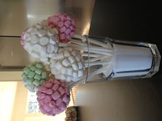 Chocolate cakepops covered in white chocolate and marsmallows