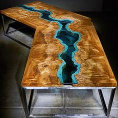 This table was a custom order! If you'd like to commission a table like this, let me know! Furniture Repair, Furniture Plans, Custom Furniture, Easy Wood Projects, Woodworking Projects Diy, Project Ideas, Glass Table, A Table, Wood Resin Table