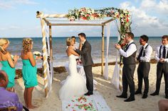 Ceremony set-up on the beach of @nowresorts in the Riviera Maya. Mexico wedding photographers Del Sol Photography.