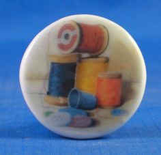 """1"""" PORCELAIN CHINA BUTTON --  COTTON REELS AND BUTTONS"""
