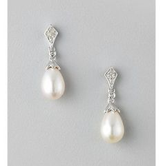 Product: Freshwater Pearl and .07 ct. t.w. Diamond Drop Earrings in Sterling Silver