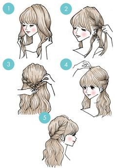 DIY tutorials on how to style your hair in 3 minutes. Quick and easy hairstyles. Techniques to style your hair and look elegant in no time. Cute Simple Hairstyles, Pretty Hairstyles, Braided Hairstyles, Short Hairstyle, Makeup Hairstyle, Easy Diy Hairstyles, Hairstyle Ideas, Kawaii Hairstyles, Long Hair Styles