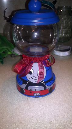 Thomas the train clay pot candy jar by littleayeka40 on Etsy