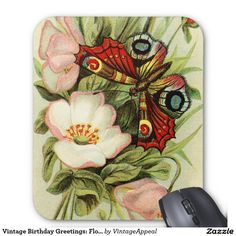 Vintage Birthday Greetings: Flowers & Butterfly Mouse Pad