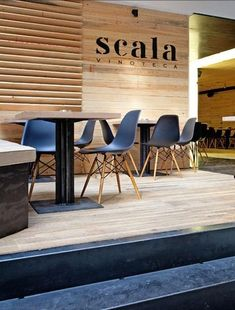 Discovered via Yatzer: the Scala Vinoteca in Athens, designed by Kokkinou Kourkoulas Architects, located in a fashionable neighborhood in the heart of the Athens Restaurants, Seafood Restaurant, Restaurant Ideas, Cafe Bar, Store Design, Interior Inspiration, Architecture Design, Wood, Greece