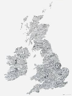 I love this idea. All the words that describe a country written in the shape of it - en masse.