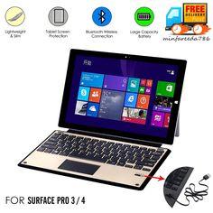 MS Surface Pro 4 3 Type Wireless Bluetooth Keyboard w/ Touchpad Built-in Battery
