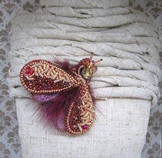 """Купить Брошь """"Мотылек"""" - бордовый, брошь, брошь из бисера, брошь в подарок, бабочка брошь, бабочка"""