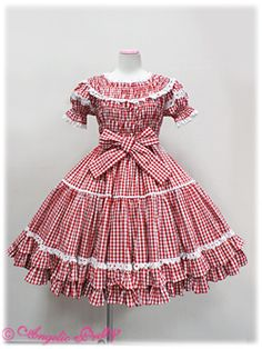 Angelic Pretty - Chelsea Gingham Shirring OP /// ¥24,990 /// Bust: 82cm+ Waist: 70cm+ Length: 89cm